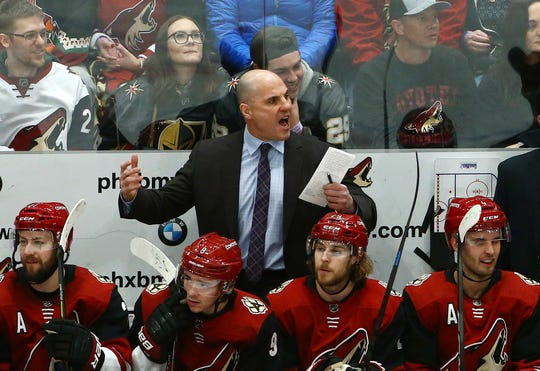 Arizona Coyotes head coach Rick Tocchet argues with a referee during the second period of a game against the Vegas Golden Knights.