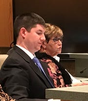 David McCuen, Anderson's assistant manager, (left) listens as City Manager Linda McConnell speaks during Monday night's City Council meeting. McCuen is expected to become the new city manager after McConnell retires on Feb. 15.