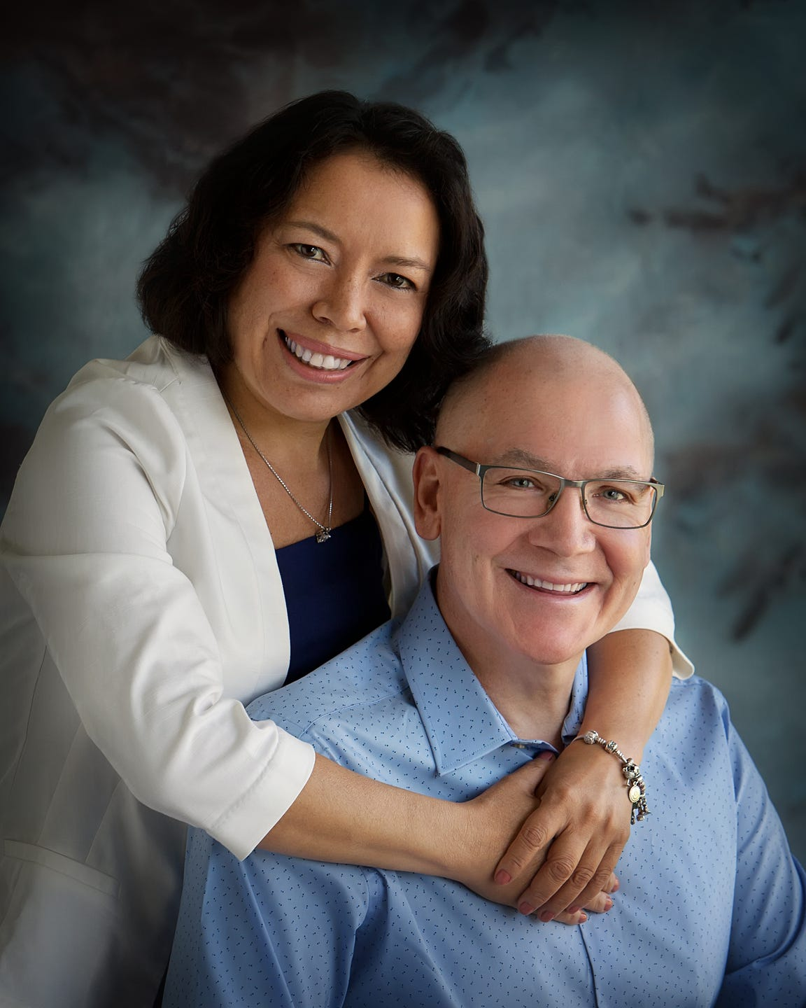 John Steiner and with his wife, Gina. Steiner has a compromised immune system due to leukemia.