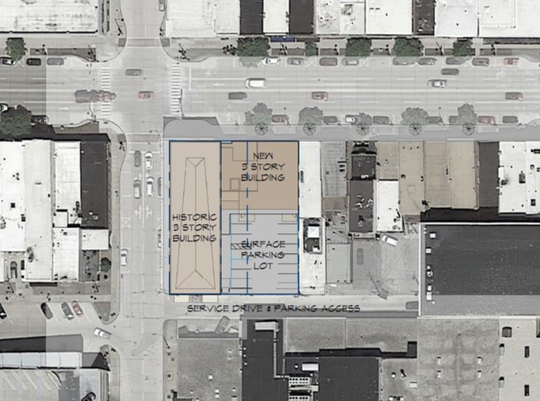 An aerial view shows the proposed redevelopment of Gabriel Furniture.