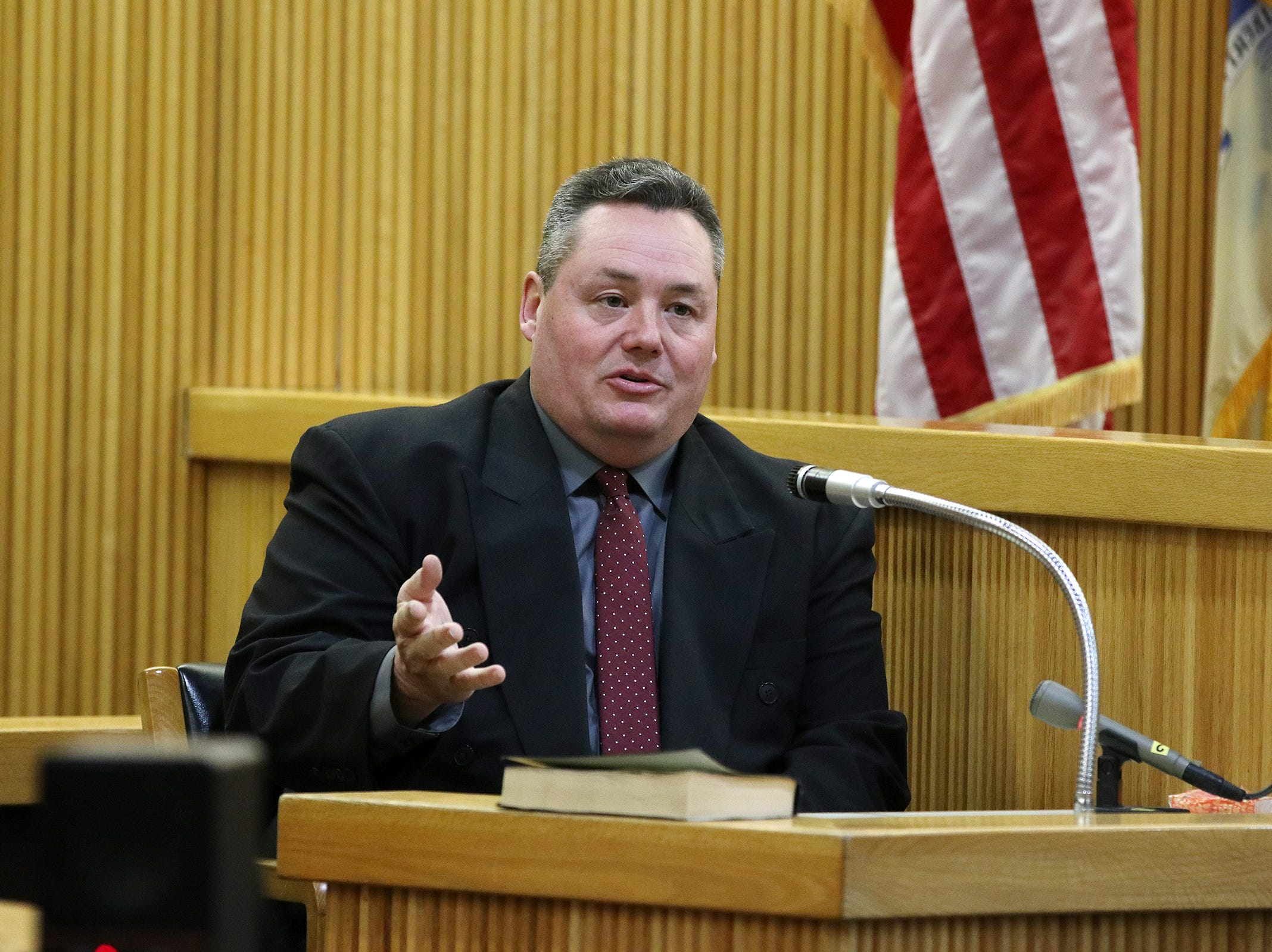 Neptune City Police Sgt. Bradley Hindes testifies during the trial of Liam McAtasney, who is charged with the murder of former high school classmate, Sarah Stern, before Superior Court Judge Richard W. English at the Monmouth County Courthouse in Freehold, NJ Tuesday January 29, 2019.
