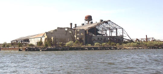 The abandoned McKeever Fish Factor on Crab Island in Great Bay, as seen in 2006. Located off Great Bay Boulevard, it used to process menhaden (mossbunkers) for their oil.