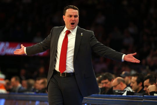 Indiana Hoosiers head coach Archie Miller react as Rutgers beats down his team during the Big Ten Tournament at Madison Square Garden.