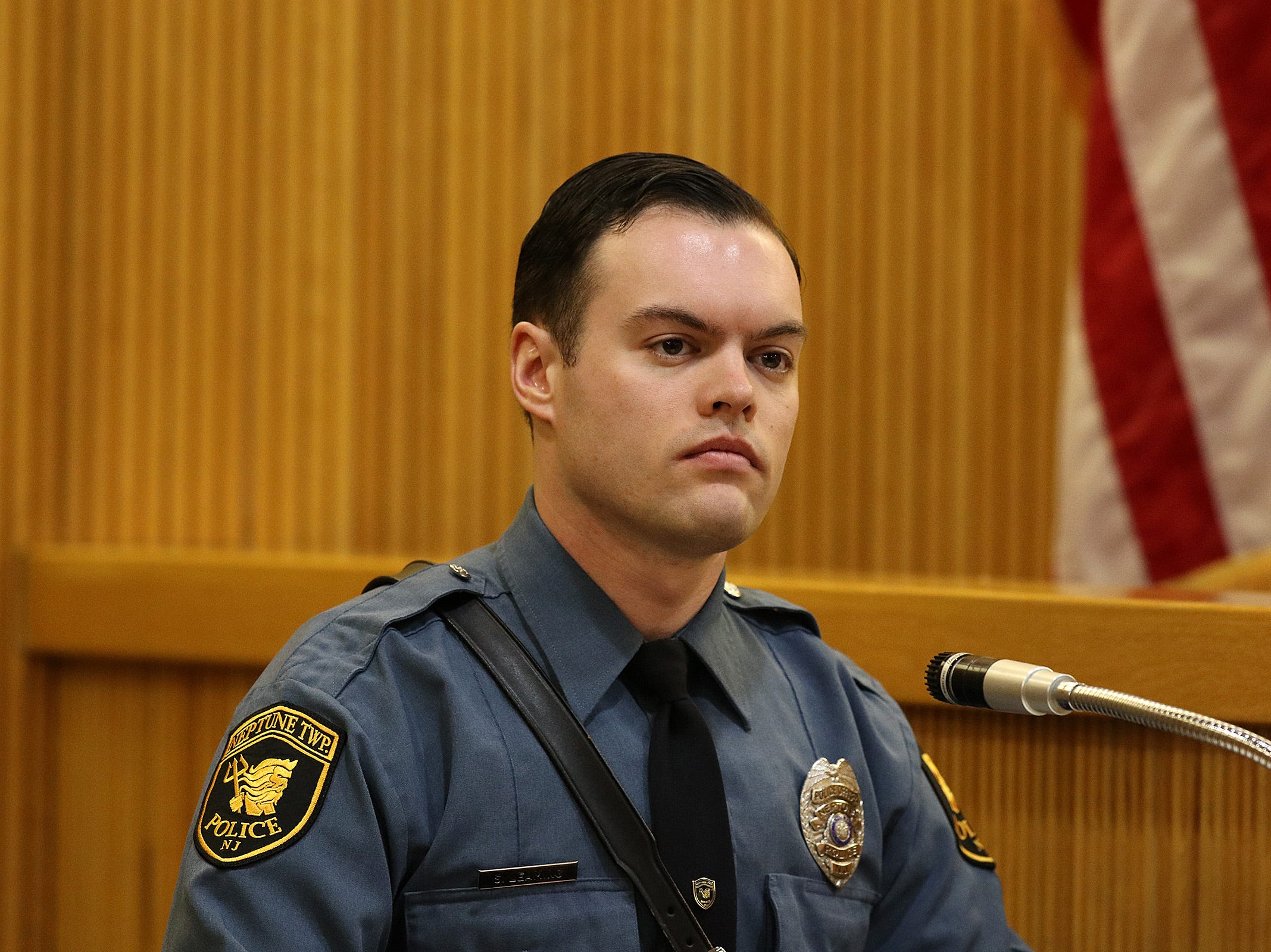Neptune Twp. Ptl. Shane Leaming testifies during the trial of Liam McAtasney, who is charged with the murder of former high school classmate, Sarah Stern, before Superior Court Judge Richard W. English at the Monmouth County Courthouse in Freehold, NJ Tuesday January 29, 2019.