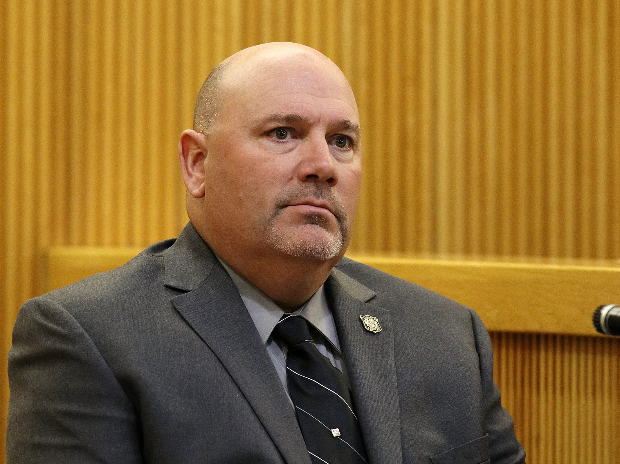 Neptune City Police Ptl. Mike Kepler testifies during the trial of Liam McAtasney, who is charged with the murder of former high school classmate, Sarah Stern, before Superior Court Judge Richard W. English at the Monmouth County Courthouse in Freehold, NJ Tuesday January 29, 2019.