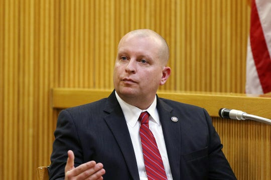 Detective Wayne Raynor of the Monmouth County Prosecutor's Office testifies during the trial of Liam McAtasney, who is charged with the murder of former high school classmate, Sarah Stern, before Superior Court Judge Richard W. English at the Monmouth County Courthouse in Freehold, NJ Tuesday January 29, 2019.