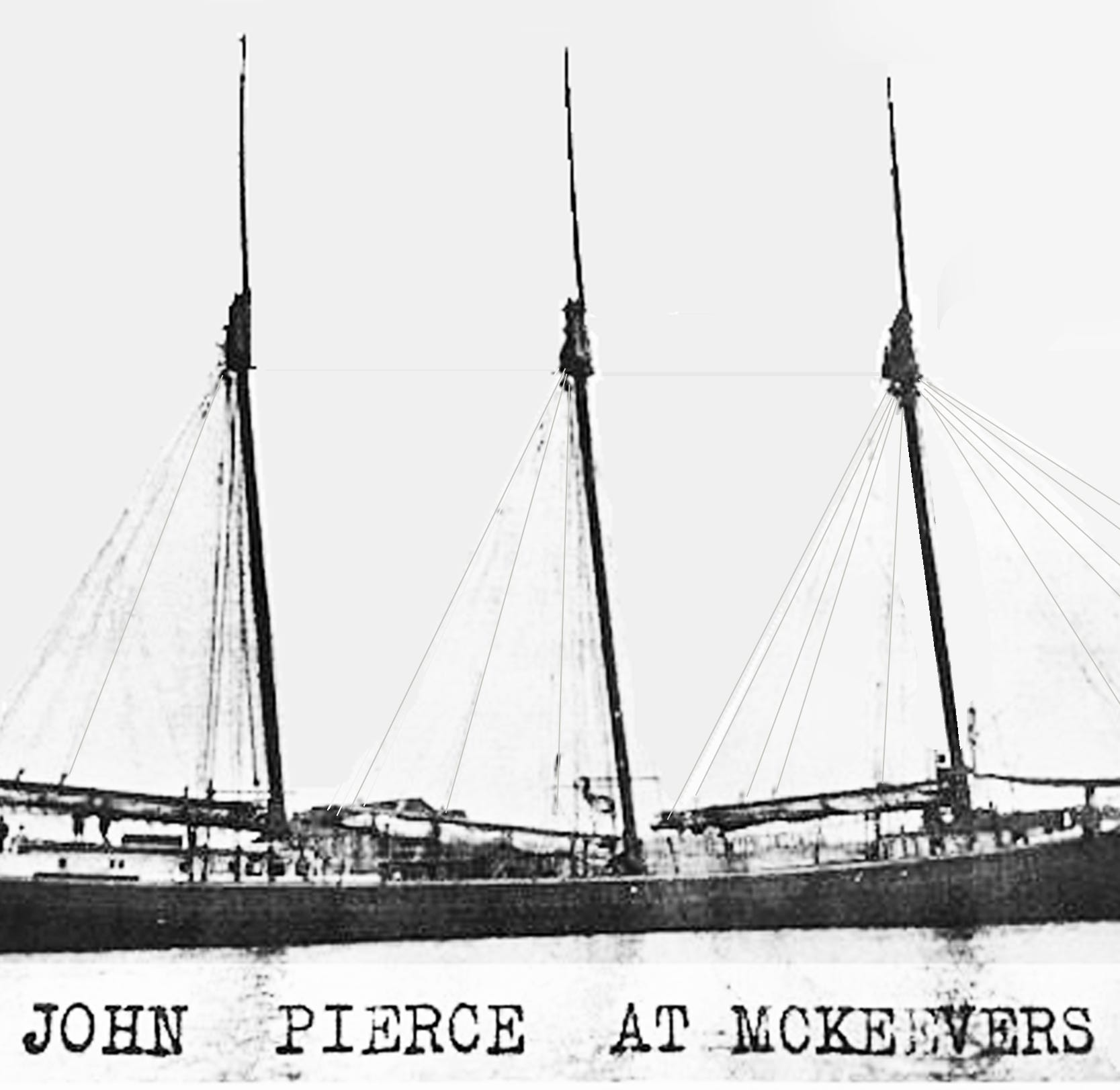 Who owned the Schooner John Pierce at the old fish factory?