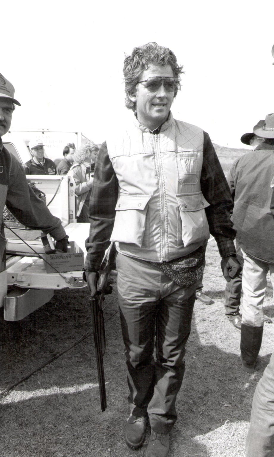 "Patrick Duffy, of the TV show ""Dallas,"" participates in the 1994 Big Country Celebrity Quail Hunt benefiting Disability Resources Inc."