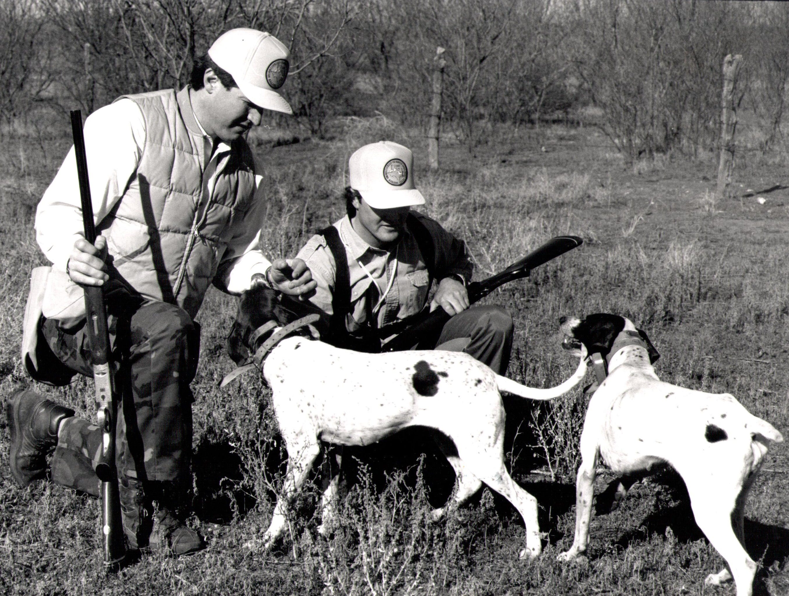 Hunters greet their dogs at a previous Big Country Celebrity Quail Hunt.