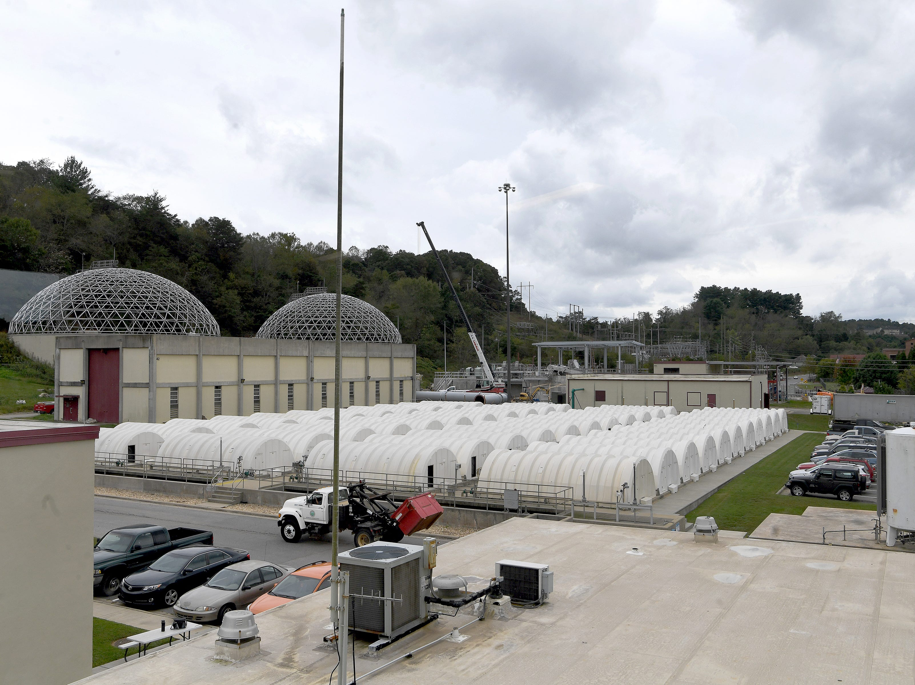 Rows of rotating biological contactors work as a step in the process of treating Asheville's wastewater at the water reclamation facility of the Metropolitan Sewerage District on Oct. 9, 2018. The facility has 152 rotating biological contactors.