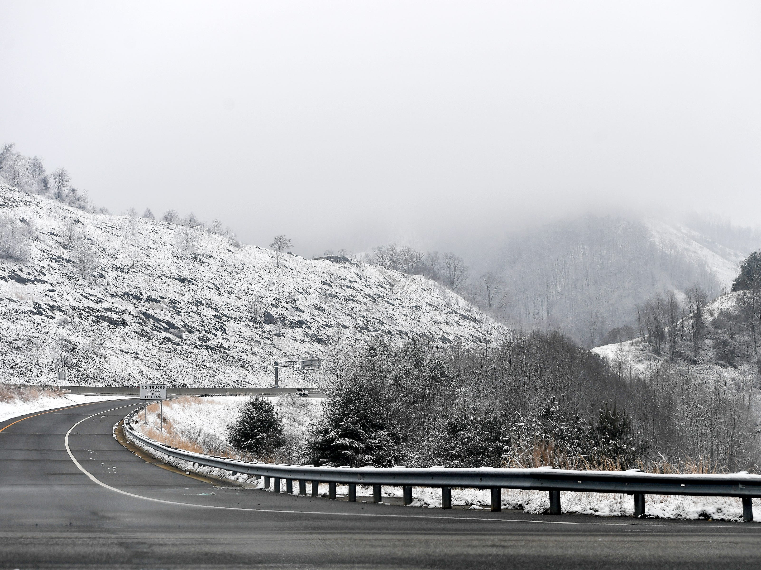A light blanket of snow covers the mountains in Northern Madison County on Jan. 29, 2019.