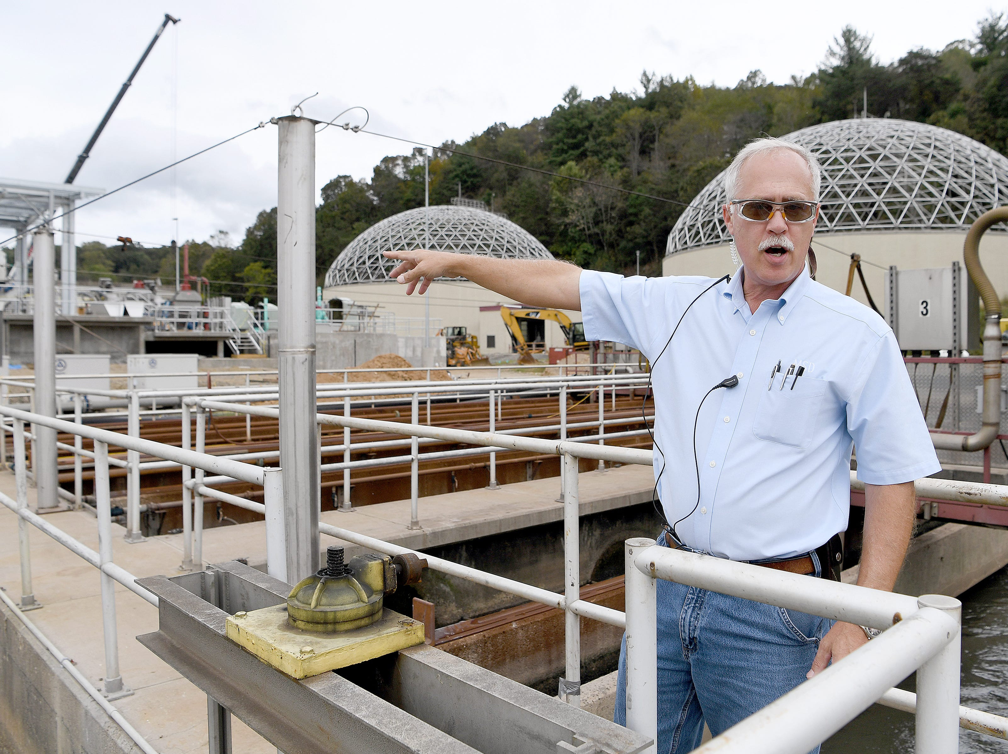 Roger Edwards, Wastewater Reclamation Facility Operations Manager, gives a tour of the facility on Oct. 9, 2018.