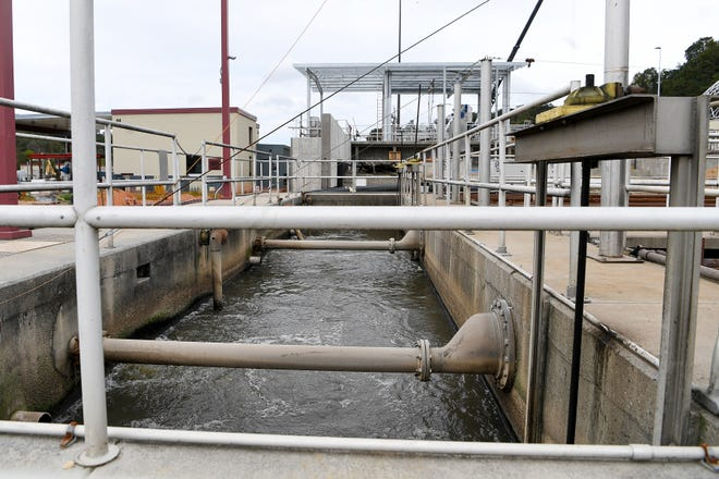 Wastewater is treated at the Metropolitan Sewerage District's water reclamation on Oct. 9, 2018. While the water is cleaner than the French Broad once fully treated, you probably wouldn't want to drink it.