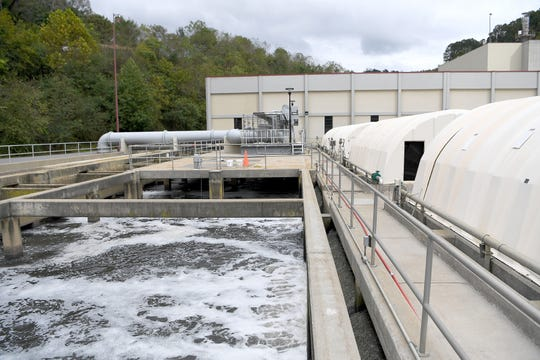 Wastewater is treated in clarifier at the Metropolitan Sewerage District's water reclamation facility on Oct. 9, 2018.