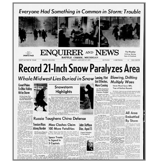The Jan. 27, 1967 front page of the Battle Creek Enquirer and News.