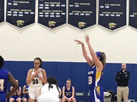 Oneonta's Ava Eichler follows through on a free throw during Monday's game at Susquehanna Valley. Eichler scored 12 points in the Yellowjackets' 55-37 victory.