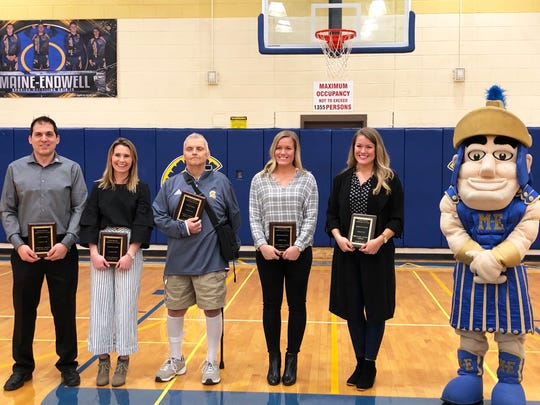 Newest Maine-Endwell Hall of Famers (left to right): James Anastos, Taylor Kucharski, William Murtha, Sara Sanders Ruch, Stephanie Sanders (& some dude in a costume).