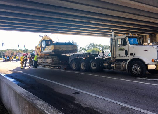 A tractor trailer became stuck on Eau Gallie Boulevard at the Interstate 95 overpass Tuesday.