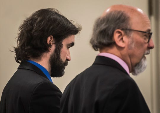 Former Rice Memorial High School teacher Brian Lynam appears in Vermont Superior Court in Burlington, VT, on Tuesday, Jan. 29, 2019, to plead guilty to one count of voyeurism stemming from 'up skirting' allegations reported in March 2018 by a student at the school. Lynam admitted to using a cell phone to take photographs up a female student's skirt.