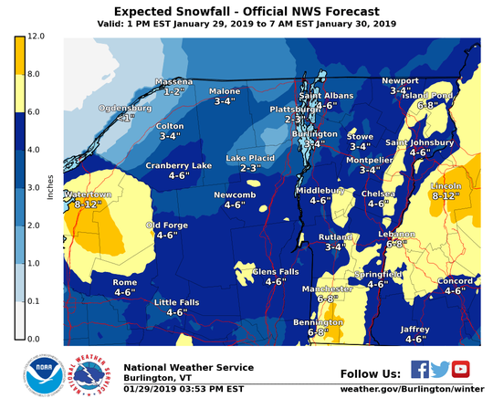 Snowfall predictions vary by location for a winter storm moving through the region Tuesday night and Wednesday morning — as seen on this map created Tuesday afternoon by the National Weather Service.