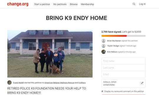 More than 2,000 people have signed a petition to bring Endy, a retired U.S. Customs and Border Patrol K9, back home to his family. Endy ran away on New Year's Day, when he was spooked by fireworks in Kingsville. He has been with a rescue group since.