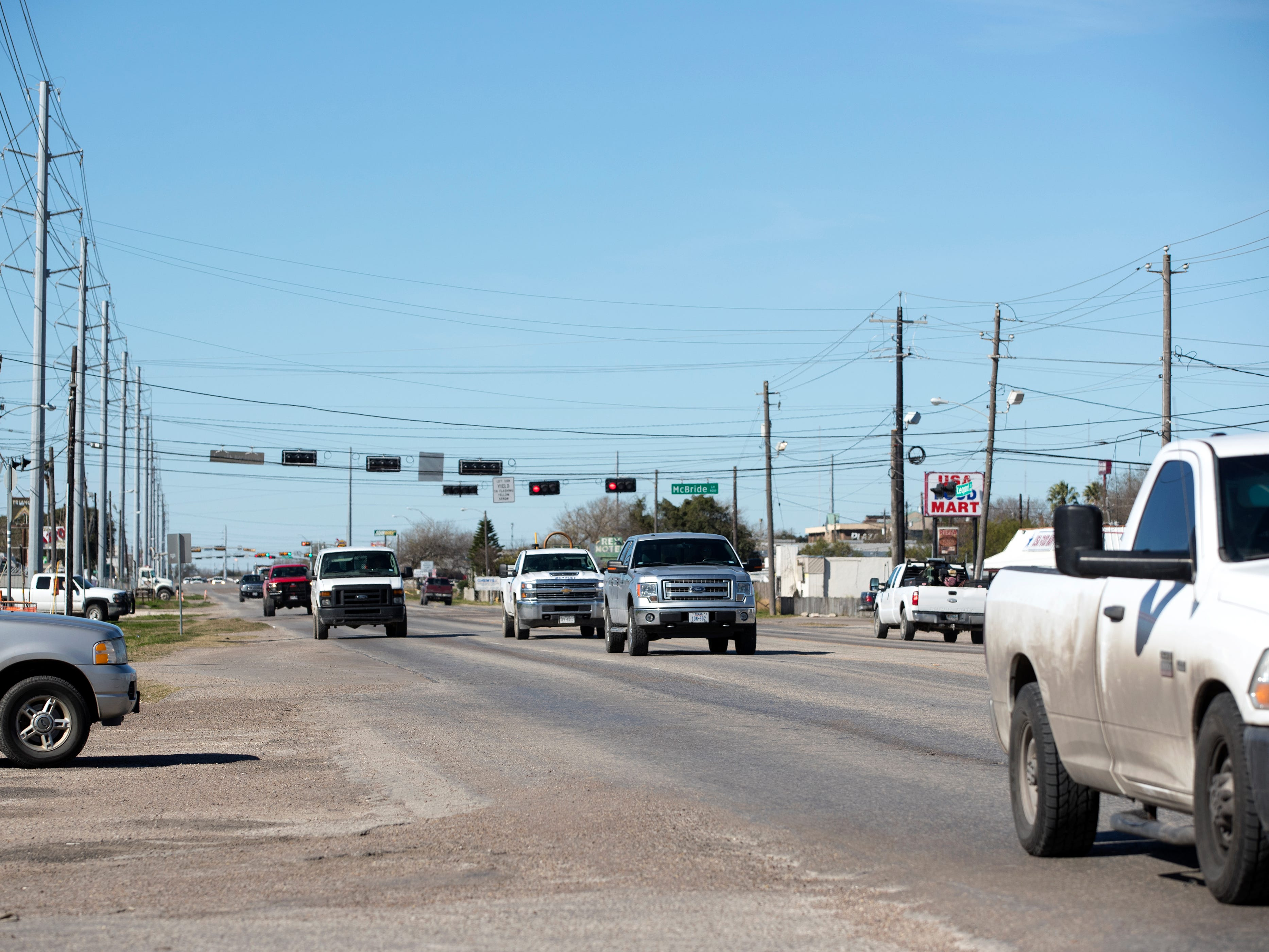 Statistics from the Corpus Christi Police Department show that a high number of auto-pedestrian accidents take place in the 5400 block of Leopard Street. Drivers can be seen on the street on Tuesday, January 29, 2019.