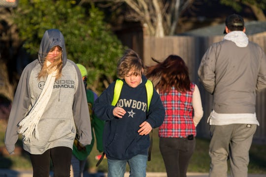 Teena Gillihan (left) and James Gillihan, 10, walk to Mireles Elementary School on Tuesday, January 29, 2019. An arctic cold front is moving into the Coastal Bend and into the Gulf waters, according to a forecast from the National Weather Service in Corpus Christi. Lows will dip to the 40s with wind gusts as high as 39 mph.