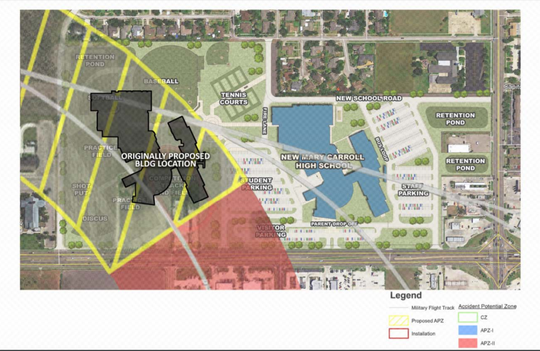 The current APZ-II (red) and the proposed, future APZ-II (yellow), as well as the original and current proposed placement of the building are shown in this graphic.