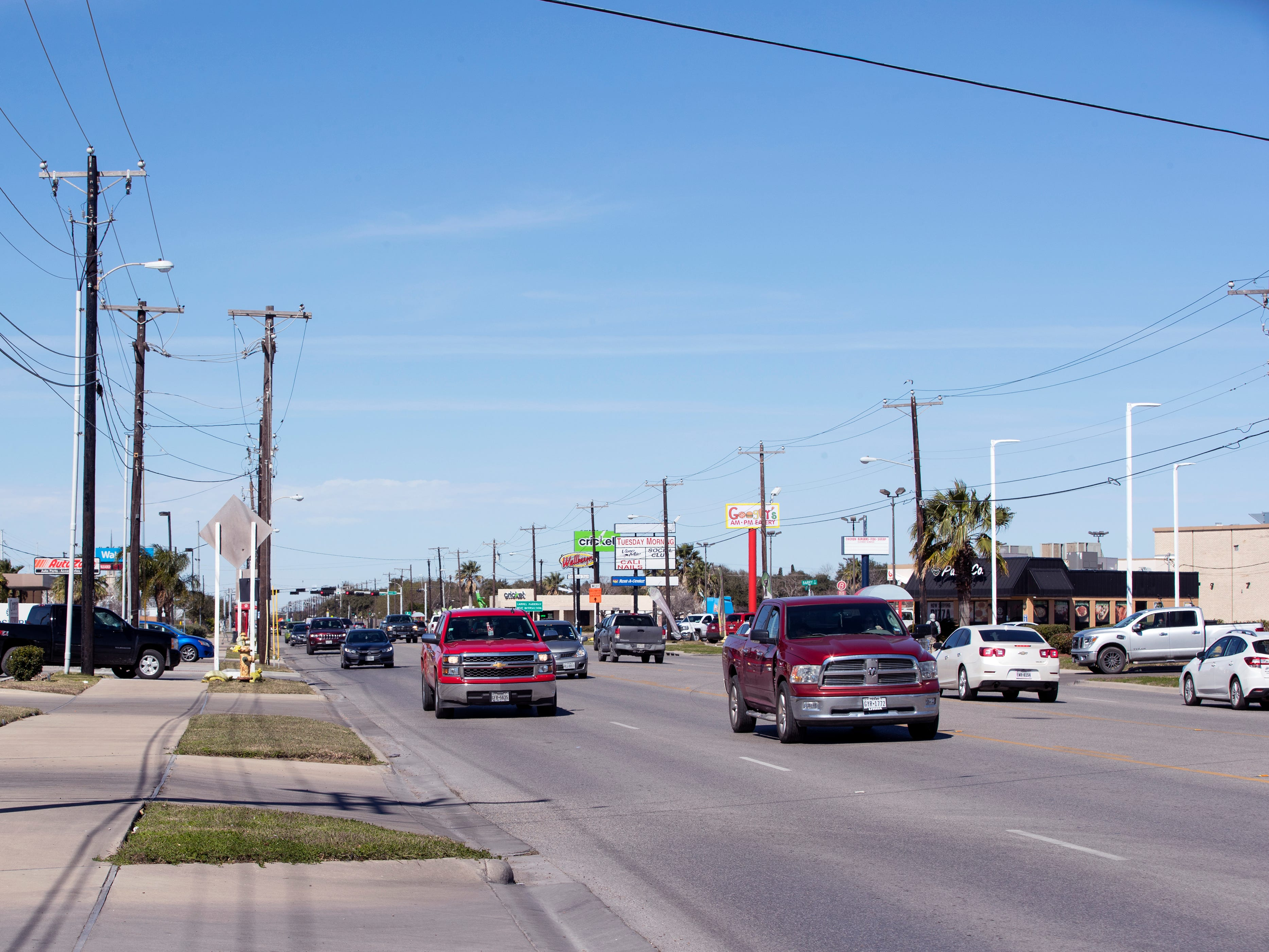Statistics from the Corpus Christi Police Department show that a high number of auto-pedestrian accidents take place between the blocks of 4000 to 42000 South Staples Street. Vehicles travel along this stretch on Tuesday, January 29, 2019.