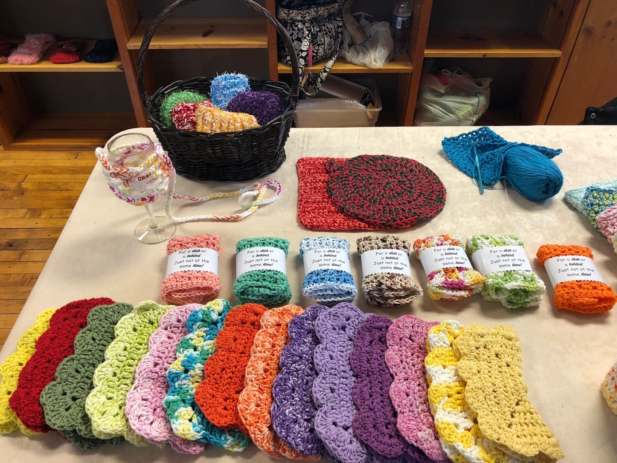 Memom's Crafts include practical items such as potholders and wine-glass lanyards.