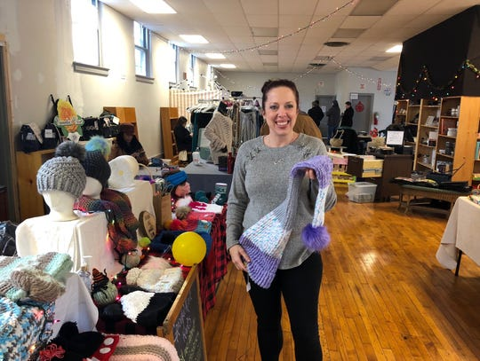 Megan Grace's Graceful Knit Knots includes fun items such as a hat long enough to double as a scarf. Grace is among the crafters and retailers setting up at  a new Merchantville pop-up market.