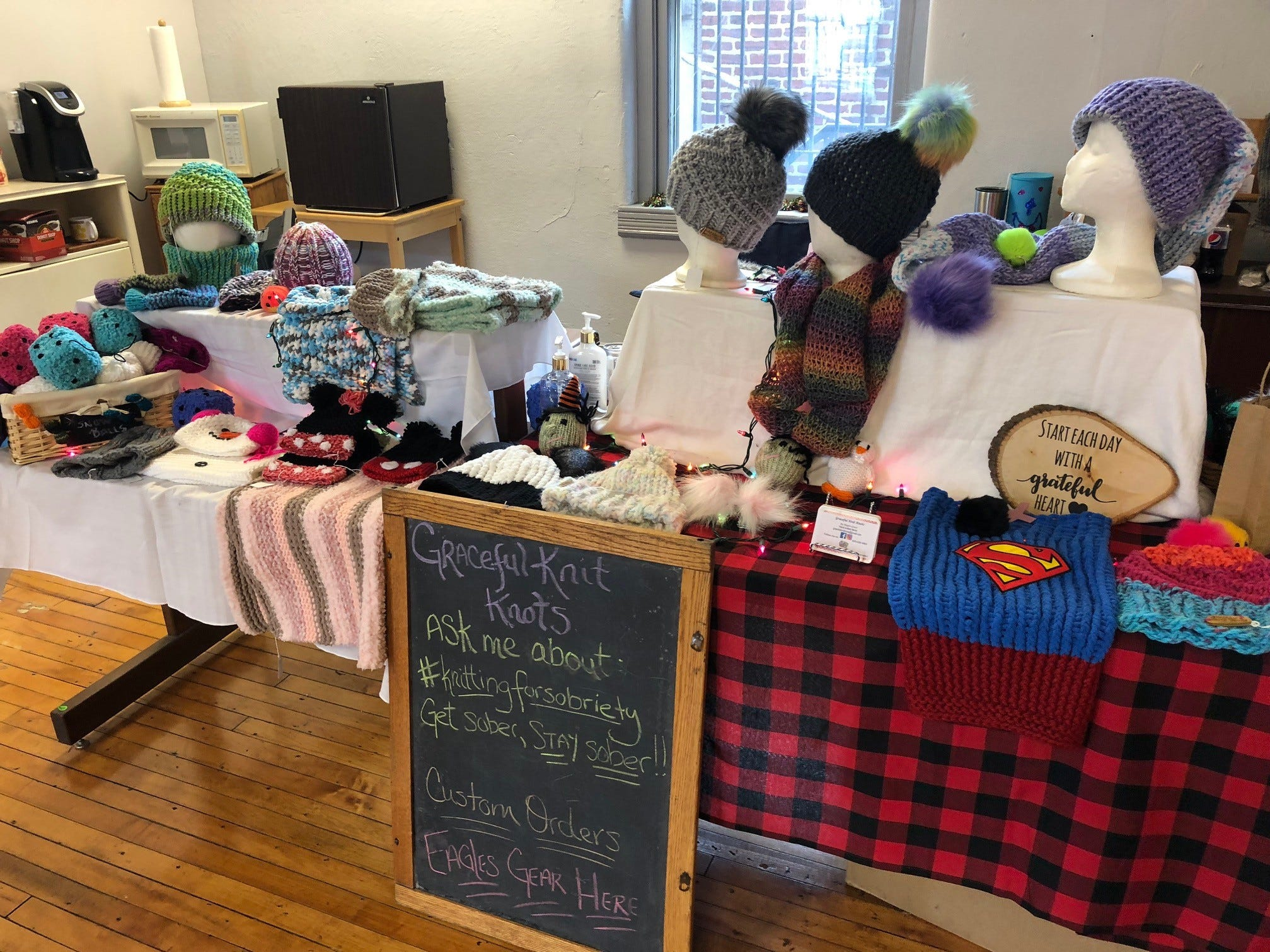 Graceful Knit Knots crafts for sale at a Merchantville pop-up market include pop-up hats, gloves and more.
