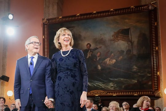 Gov. Mike DeWine and his wife Fran arrive for his public inauguration ceremony at the Ohio Statehouse on Jan. 14, 2019.