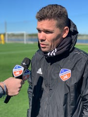 FC Cincinnati head coach Alan Koch is interviewed following a morning practice session Monday, Jan. 28 at IMG Academy in Bradenton, Florida.
