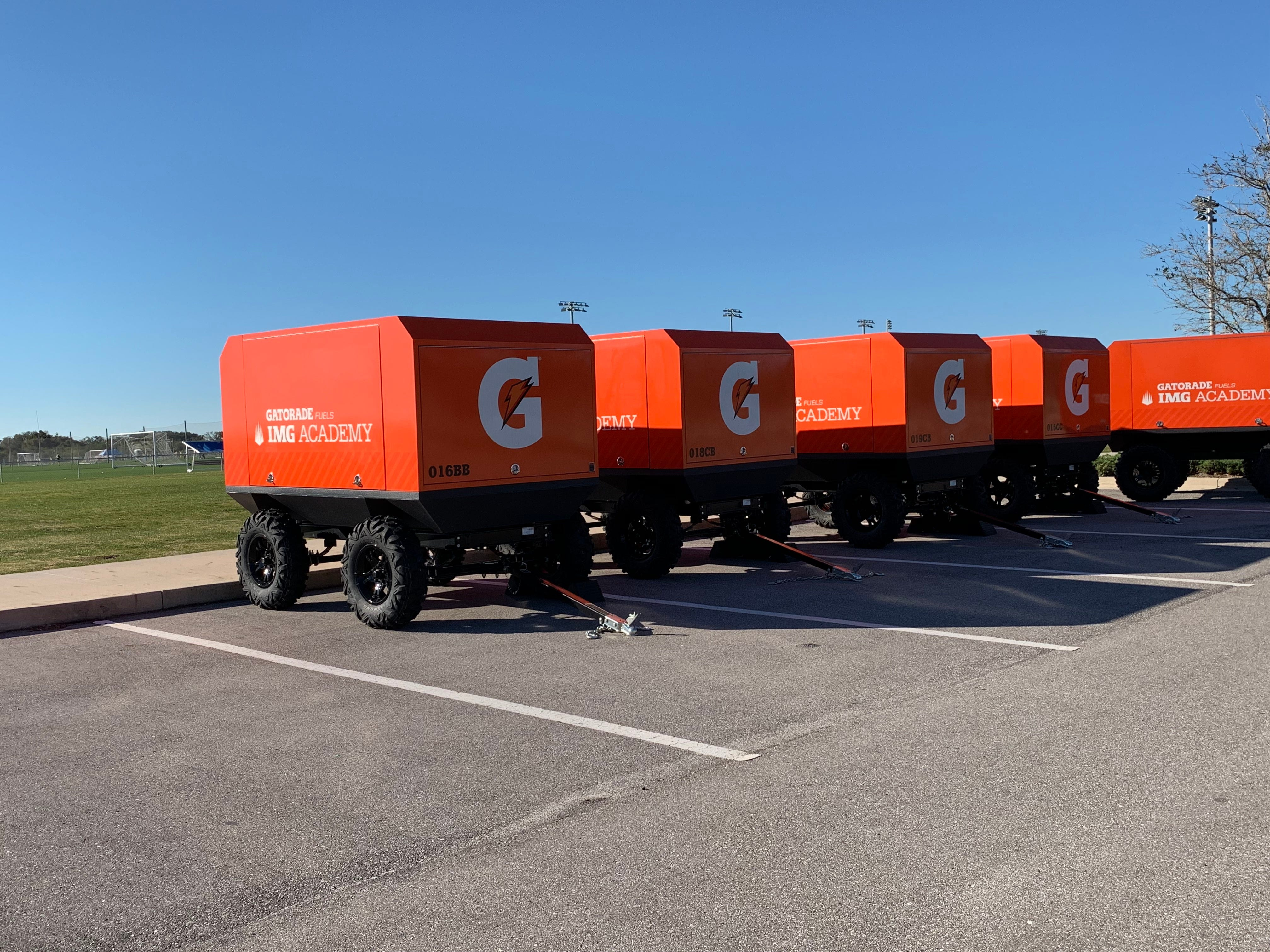 Gatorade-branded trolleys and containers are a common sight on the IMG Academy campus