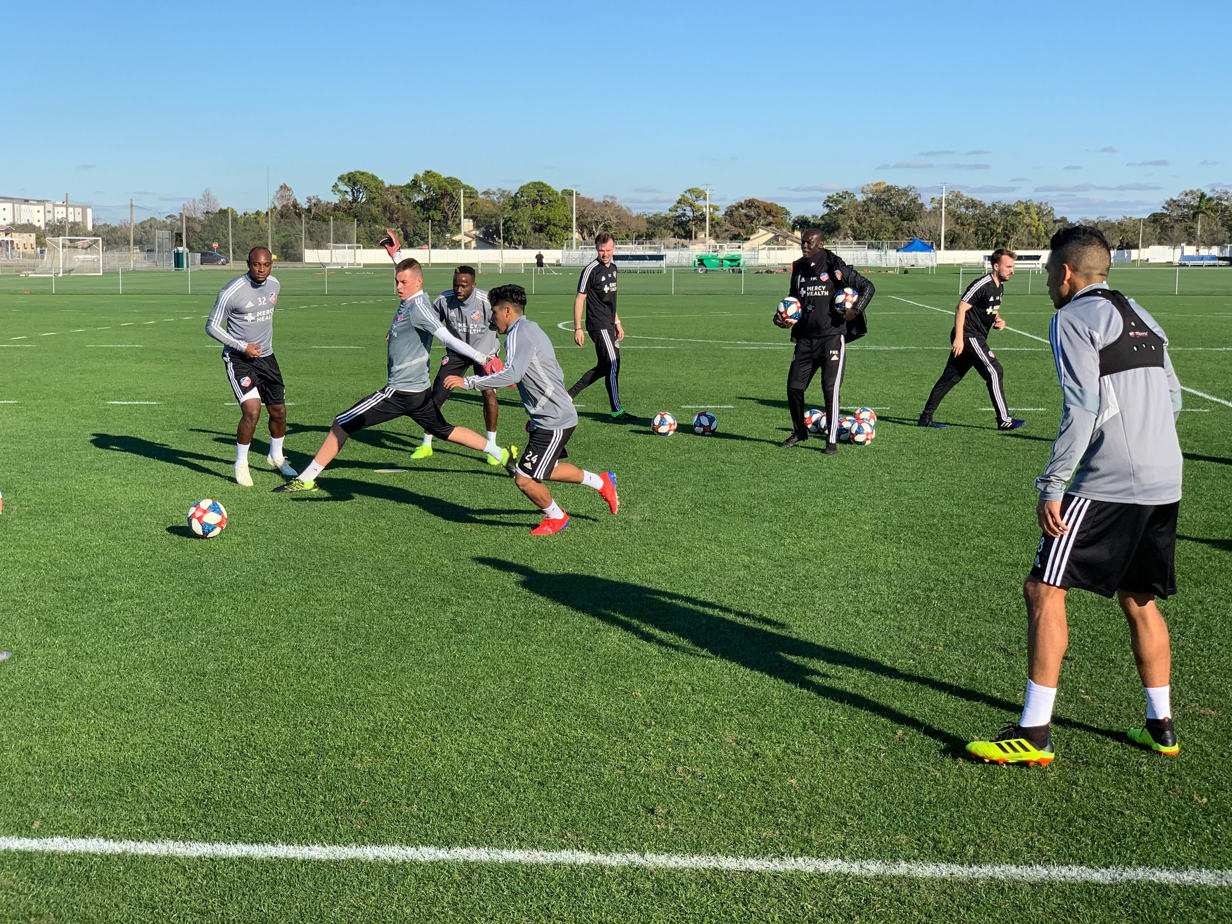 FC Cincinnati players play keep-away-style games Monday, Jan. 28, during the second of two practice sessions that day at IMG Academy's soccer complex.