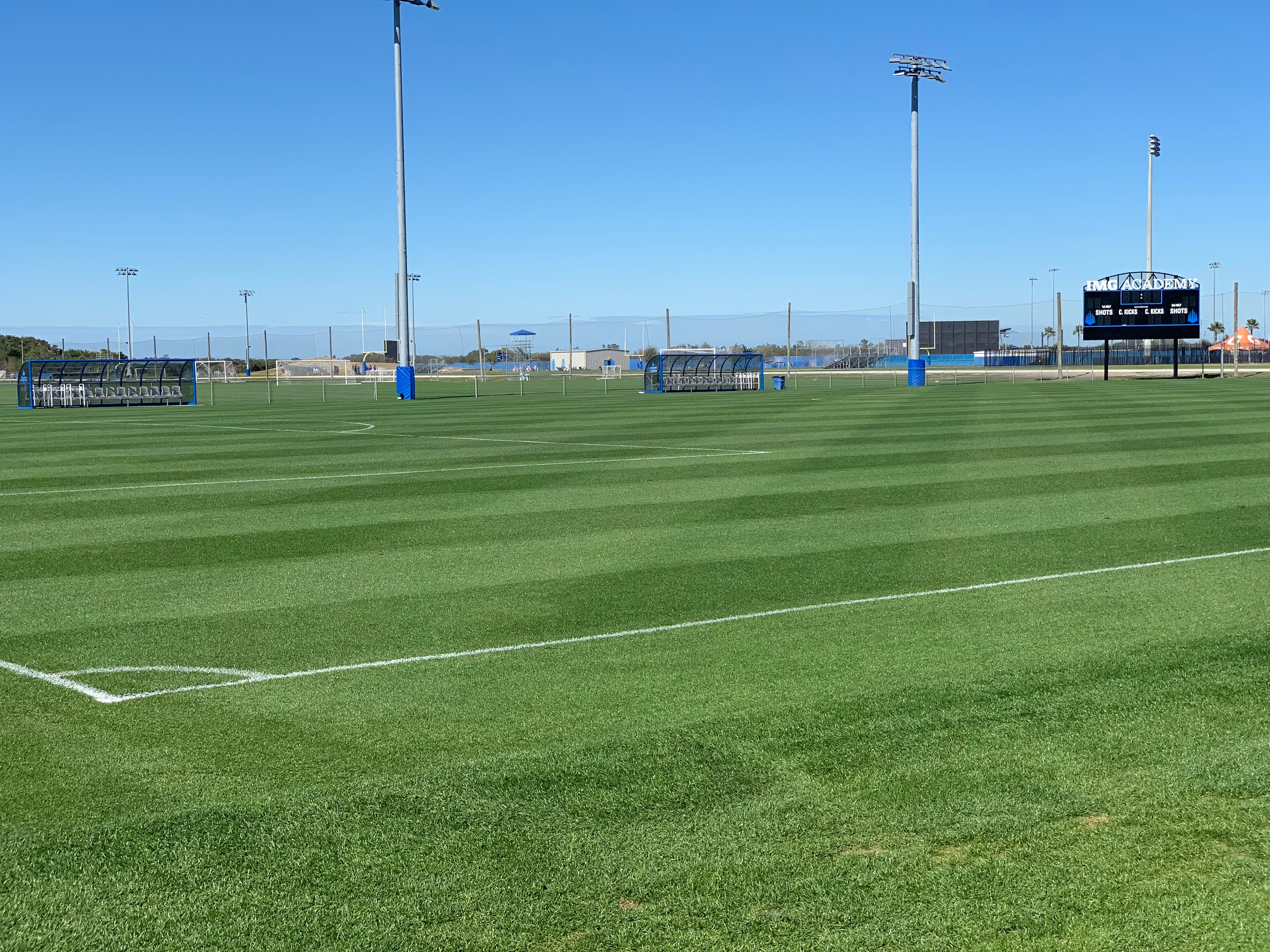 A view out on the pristine grass pitch for match play at the IMG Academy's Soccer Complex.