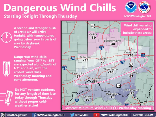 Dangerous wind chills Tuesday night through Thursday.