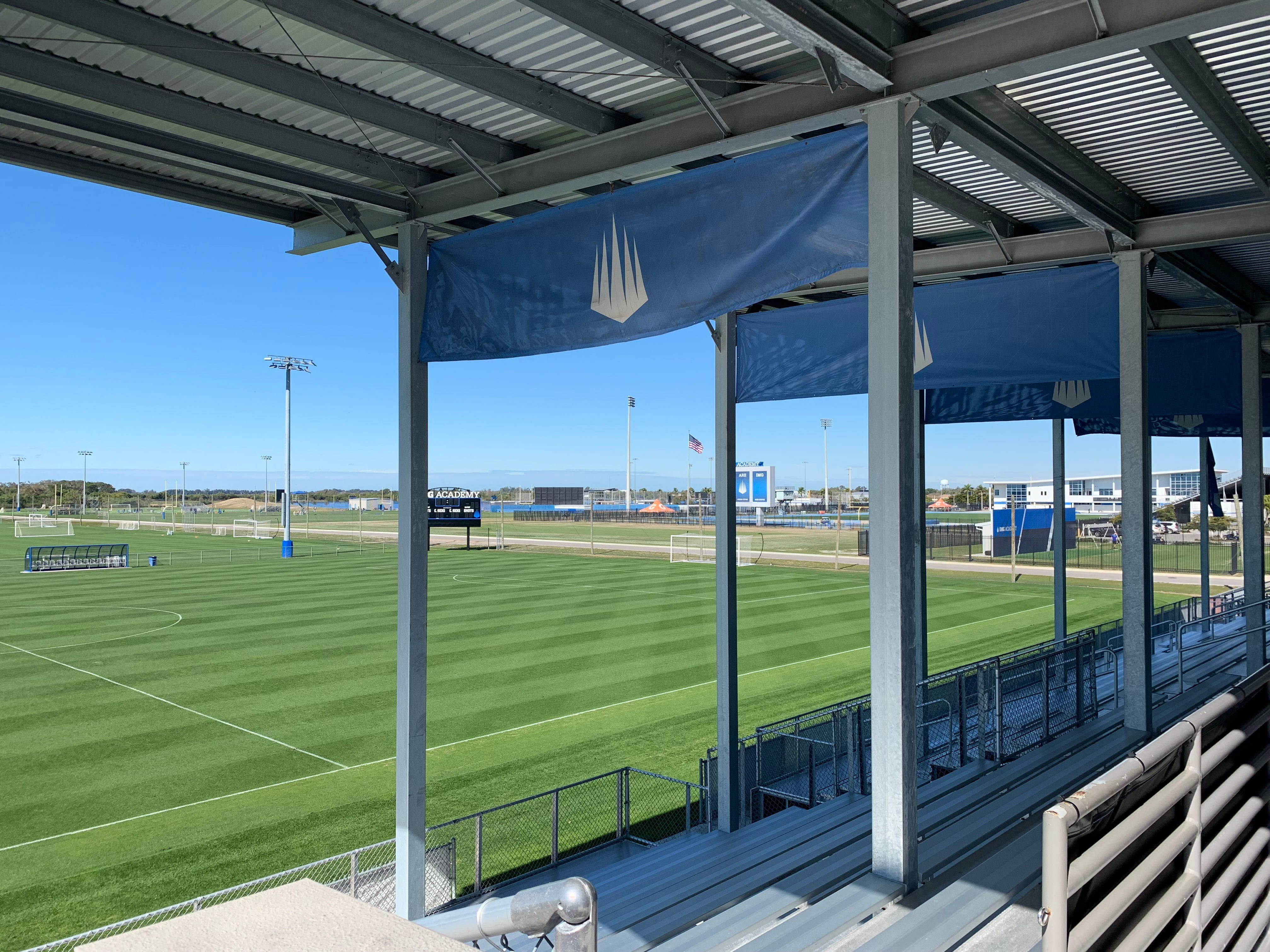 A view of the match-play field from the IMG Academy Soccer Complex's covered grandstand for spectators.