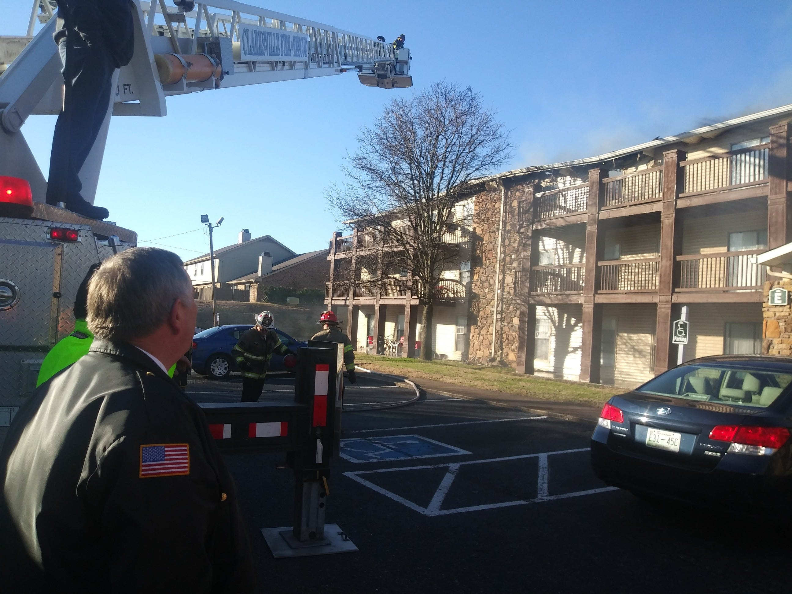 Fire crews respond to a blaze that broke out Tuesday, Jan. 29, 2019, at Ashford Place Apartments on Memorial Drive.