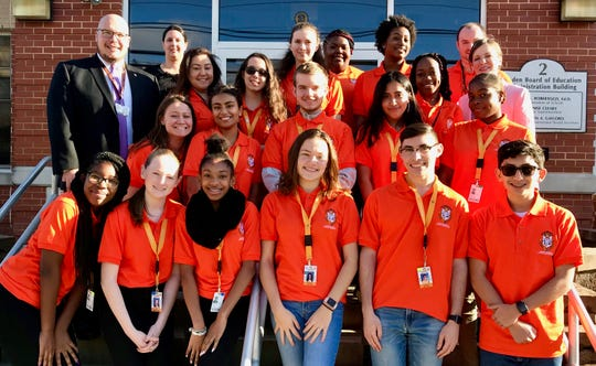 The Linden High School Student Ambassadors posing with their advisers and administrators, including Superintendent Danny A. Robertozzi (left).
