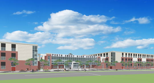 A rendering of the planned new Perth Amboy High School by the SDA design studio. The rendering is subject to change, according to the NJSDA