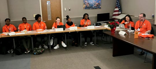 LHS Student Ambassadors meeting with district administrators. From left are Ambassadors Katrina Charles, Pierette Foy-Kougha, Makenzi Henry, Makenzie Kuntz, Syrai Anderson, and Nylah Hughes-Green, and advisers Nicole Campo and Ryan Devaney.