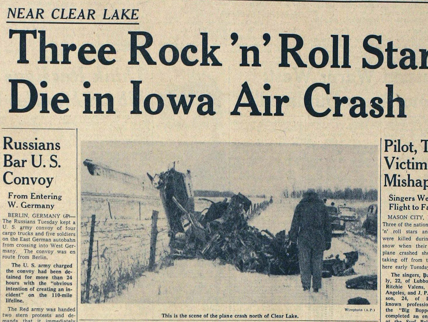 Des Moines Tribune front page Feb 3, 1959 -- plane crash Clear Lake , Iowa, Buddy Holly, Ritchie Valens, J.P. Richardson. Three Rock and Roll stars die in Iowa air crash.