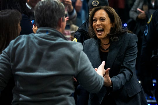 Sen. Kamala Harris, D-CA, greets people in the crowd who gathered to watch her CNN town hall on Monday, Jan. 28, 2019, on the Drake University campus in Des Moines. This was Harris' first visit to Iowa after announcing she'll run for president.
