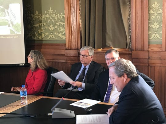 From left, ISU President Wendy Wintersteen, Board of Regents President Michael Richards, UNI President Mark Nook and UI President Bruce Harreld speak to lawmakers on Tuesday, Jan. 29, 2019.