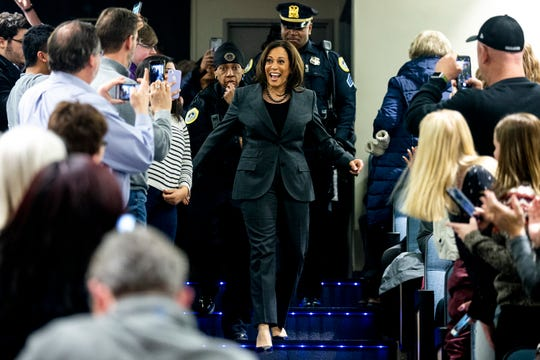 Sen. Kamala Harris, D-CA, makes her way into Sussman Theatre where a group of people gathered to watch her CNN town hall on Monday, Jan. 28, 2019, on the Drake University campus in Des Moines. This was Harris' first visit to Iowa after announcing she'll run for president.