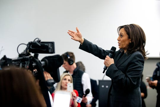 Sen. Kamala Harris, D-CA, answers questions from a group of people who gathered to watch her CNN town hall on Monday, Jan. 28, 2019, on the Drake University campus in Des Moines. This was Harris' first visit to Iowa after announcing she'll run for president.