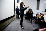 In her first visit to Iowa after announcing a run for President, Kamala Harris answers questions from the crowd gathered to watch her CNN town hall.