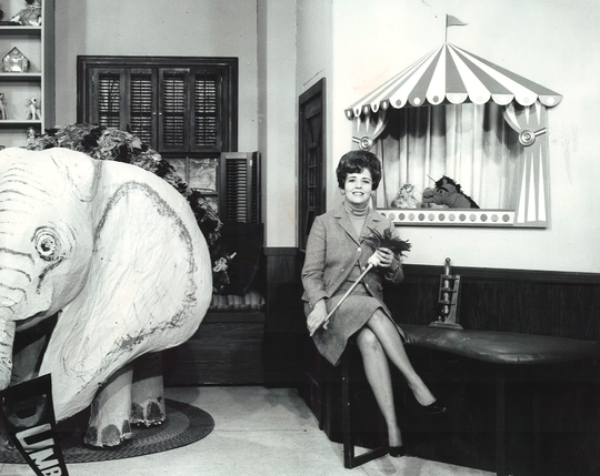 "Dumbo visits the set of ""The House With the Magic Window"" hosted by Betty Lou Varnum."